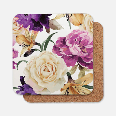 SET OF 4 Coasters with Floral Design
