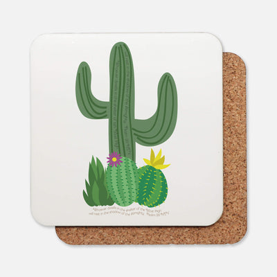 SET OF 4 Coasters with Cactus Design