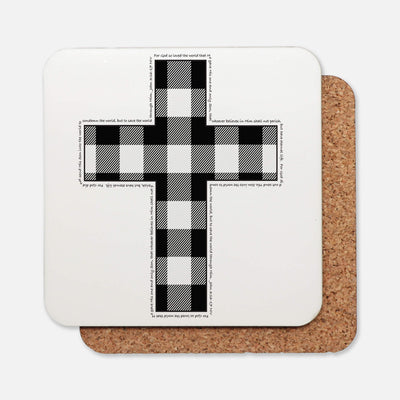 SET OF 4 Coasters with Cross Buffalo Check Design