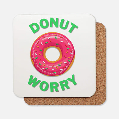 SET OF 4 Coasters with Donut Worry Design