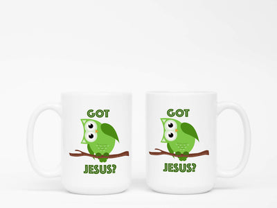 Mug with Green Owl Got Jesus