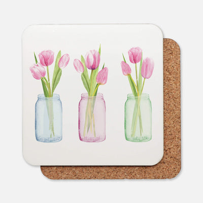 SET OF 4 Coasters with Pink Tulips