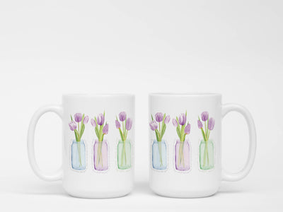 SET OF 15oz Mugs with Purple Tulips