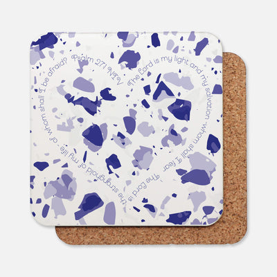 SET OF 4 Coasters with Blue Terrazzo Design
