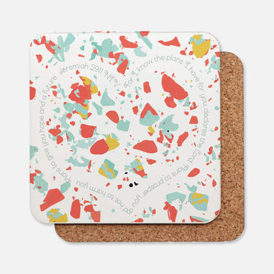 SET OF 4 Coasters with Coral Terrazzo Design