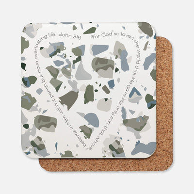 SET OF 4 Coasters with Olive Green Terrazzo Design