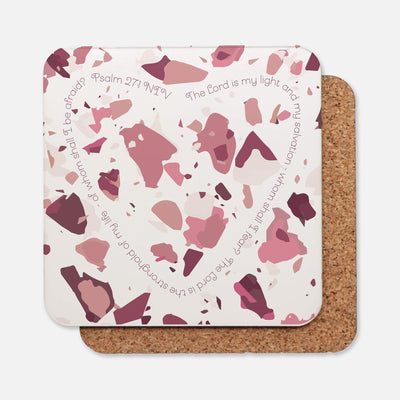 SET OF 4 Coasters with Rose Pink Terrazzo Design