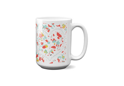 SET OF 15oz Mugs with Coral Terrazzo Design