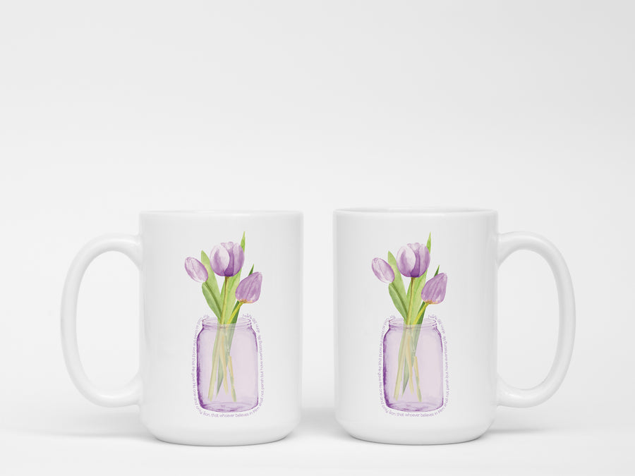 Mug with Purple Tulips 1 vase