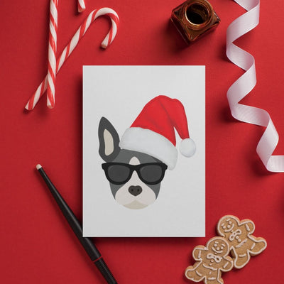 Christmas Card with Boston Terrier