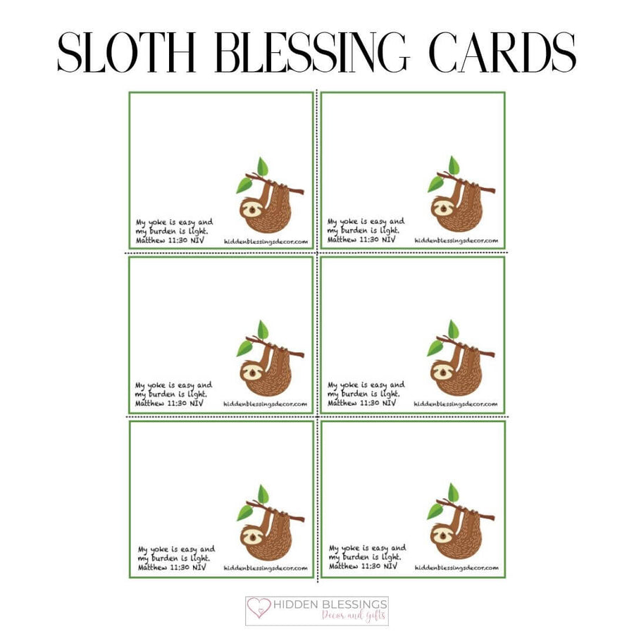 Sloth Blessing Cards Download