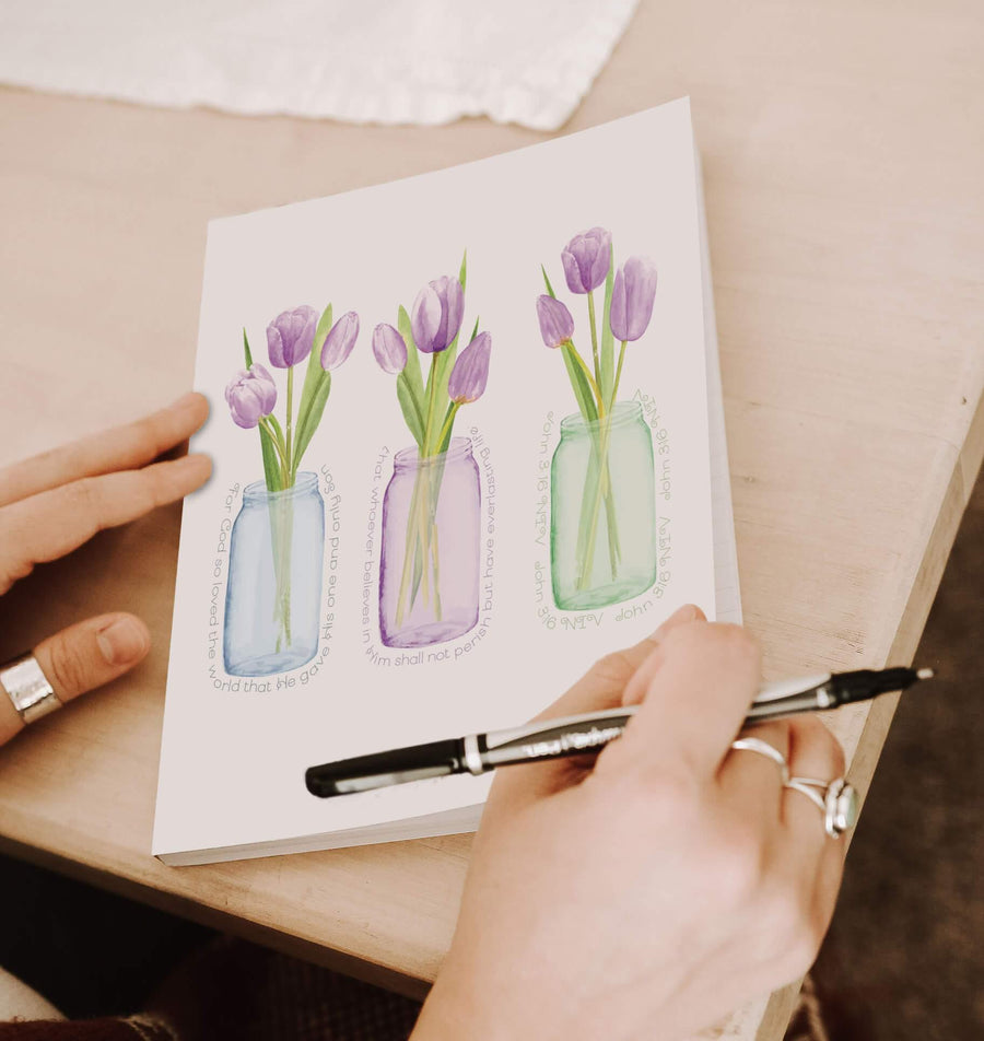 Journal with Purple Tulip Design