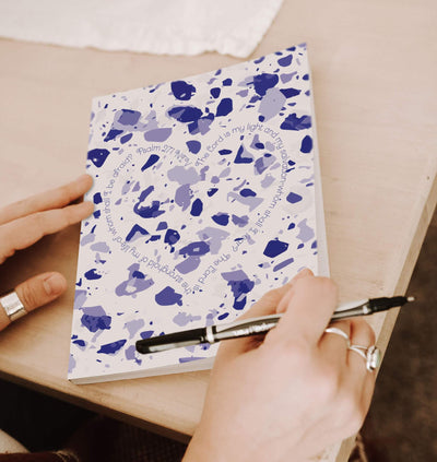 Journal with Blue Terrazzo Design