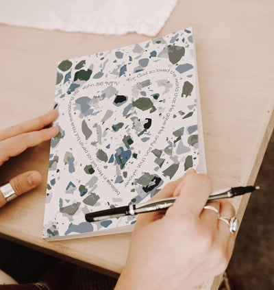 Journal with Olive Green Terrazzo Design