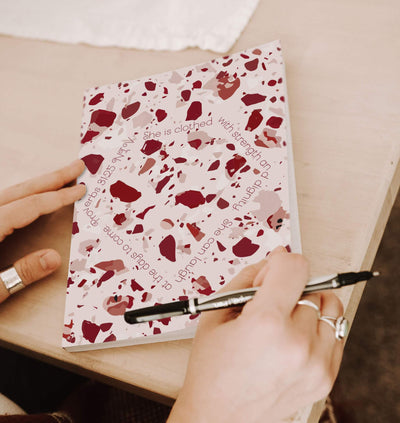 Journal with Red Terrazzo Design