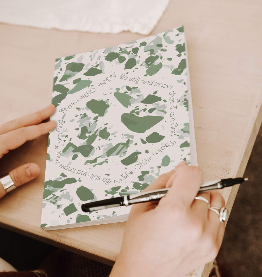 Journal with Sage Green Terrazzo Design