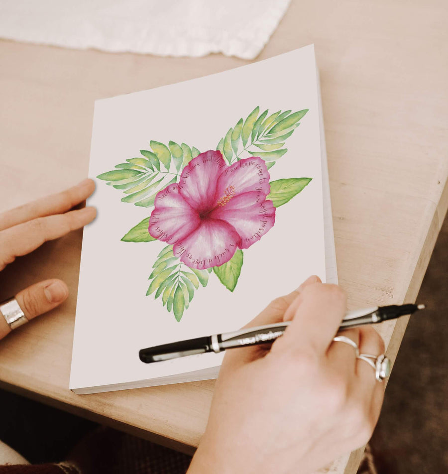 Journal with Tropical Flower Design