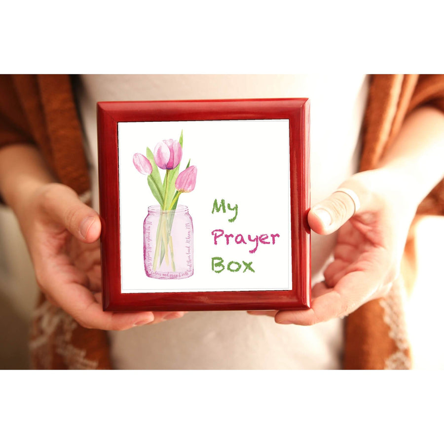 Prayer Box with Pink Tulips
