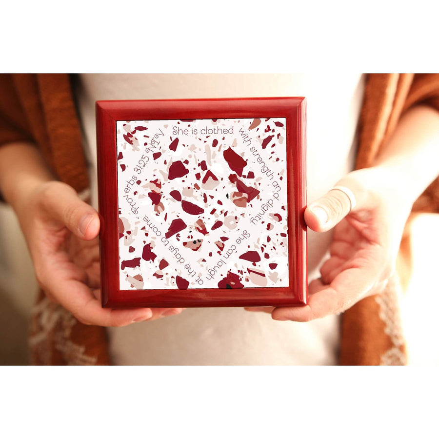 Prayer Box with Red Terrazzo Design
