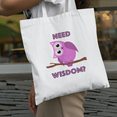Tote Bag with Purple Owl Need Wisdom