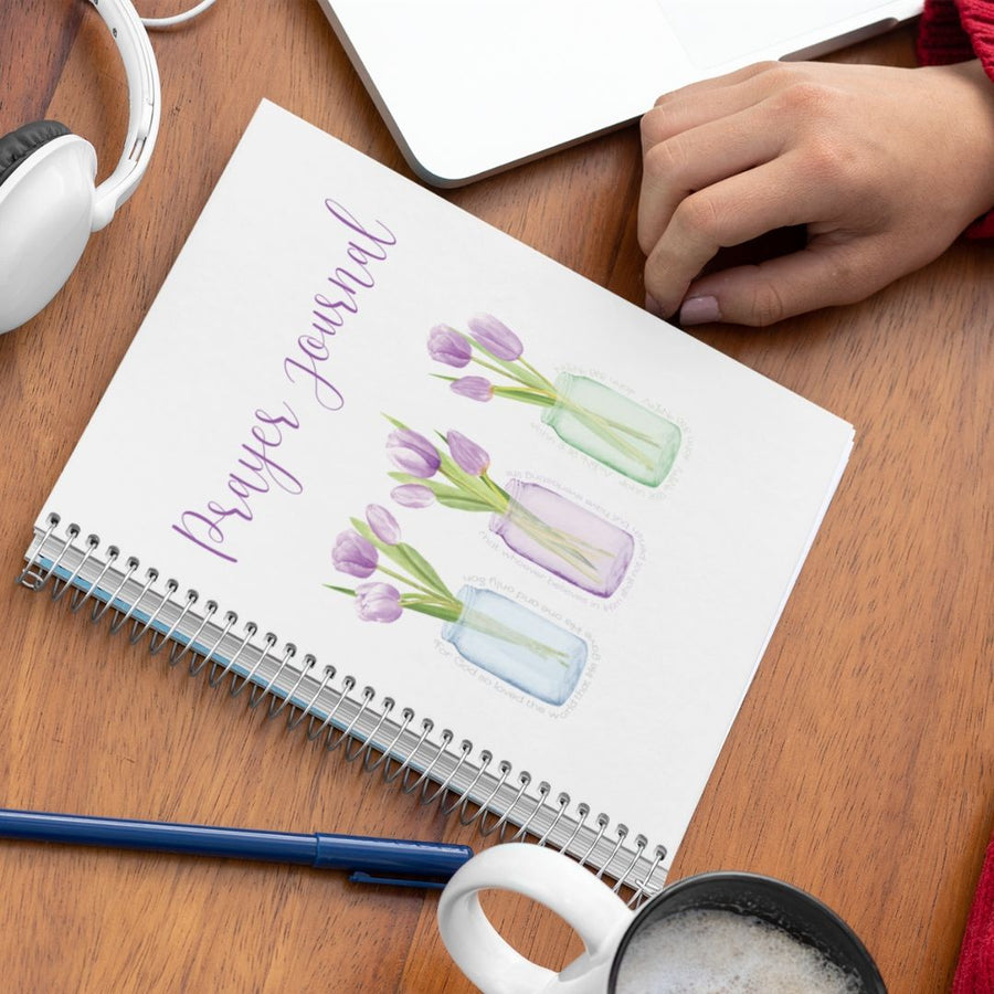 Prayer Journal with Purple Tulips