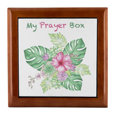 Prayer Box with Tropical Bouquet Design