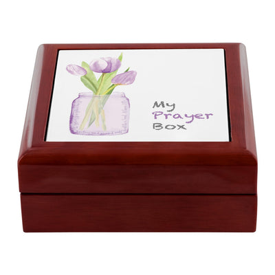 Prayer Box with Purple Tulips