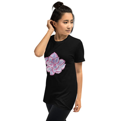 Short-Sleeve Unisex T-Shirt with Purple Succulent