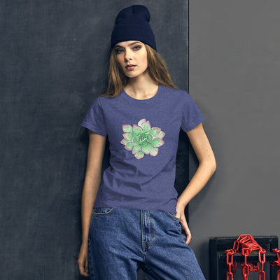 Women's Short Sleeve T-Shirt with Green Succulent