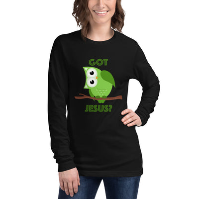 Christian Long Sleeve Tee with Green Owl