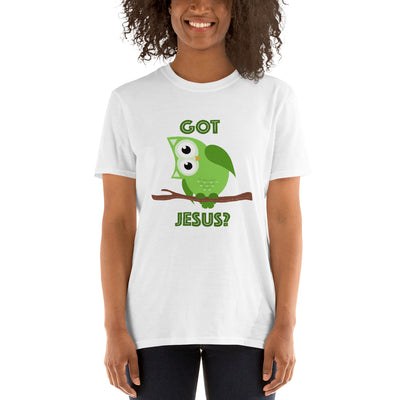 Short-Sleeve Unisex T-Shirt with Green Owl
