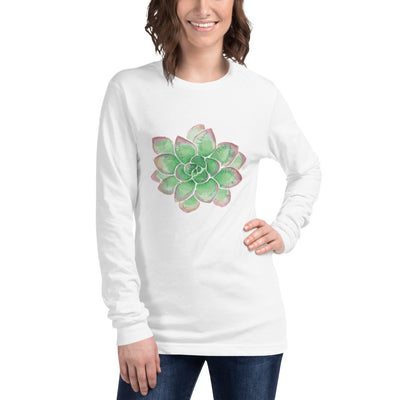 Unisex Long Sleeve Tee with Green Succulent