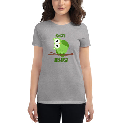 Women's Short Sleeve T-Shirt with Green Owl