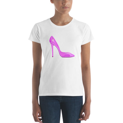 Women's short sleeve Tee with Pink Shoe