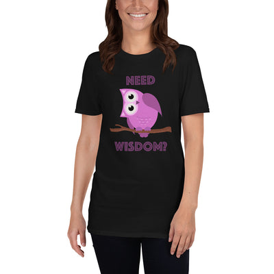 Short-Sleeve Unisex T-Shirt with Purple Owl