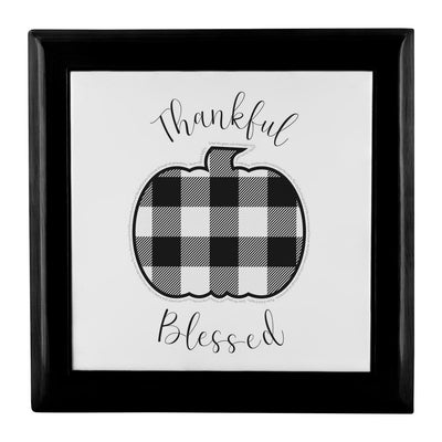 Prayer Box with Buffalo Check Pumpkin Design