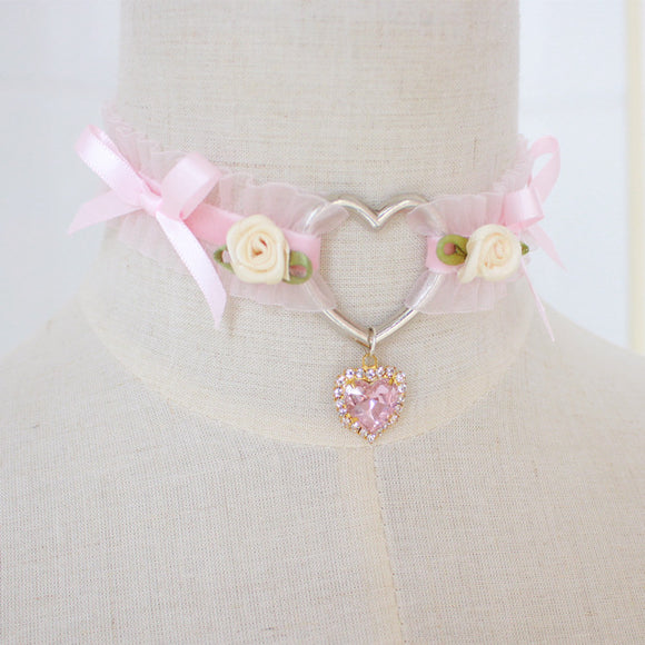 Pink Heart Bow Set (Collar & Clamps)