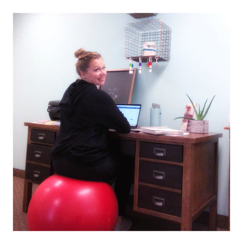 Exercise ball at desk