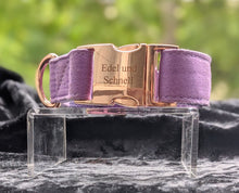 Laden Sie das Bild in den Galerie-Viewer, Luxury-Line Sommerliches rose-gold Halsband lila, inklusive Leine