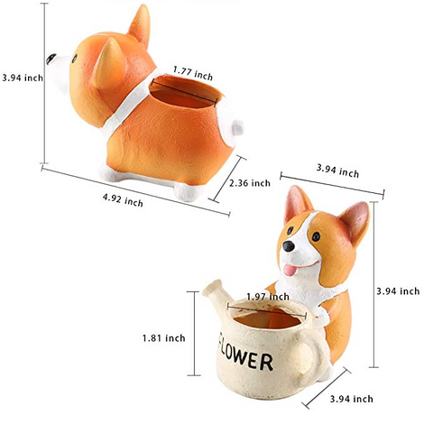 Cute Corgi Flower Succulent Pot Decorative Sizing