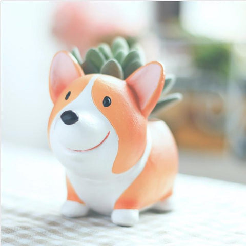 Cute Corgi Flower Succulent Pot Decorative Standing