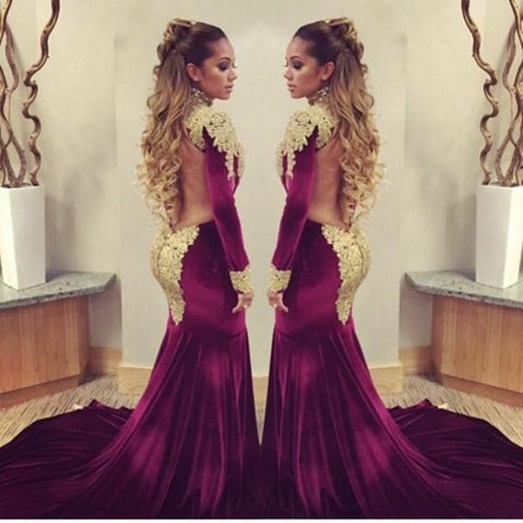Evening Sexy High Neck Long Sleeves Long Prom Gown Dress