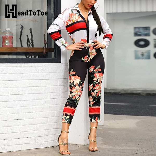 Casual Floral Sexy Long Sleeve Jumpsuit