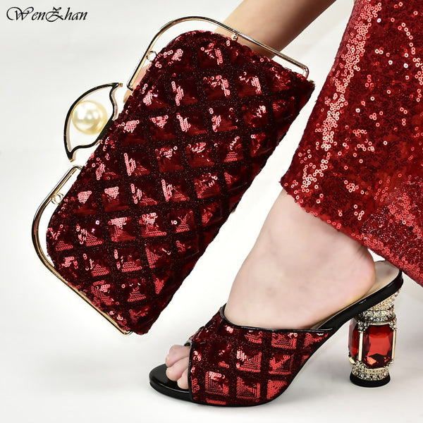 Red Italian fashion Shoes With Matching Bags