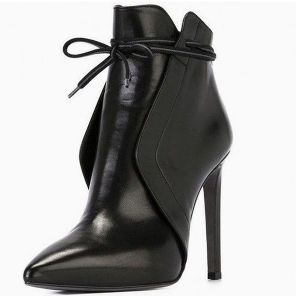 Leather Pointed Toe Thin High Heel Booties