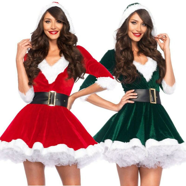 Half Sleeve Santa Claus Christmas Mini Dress