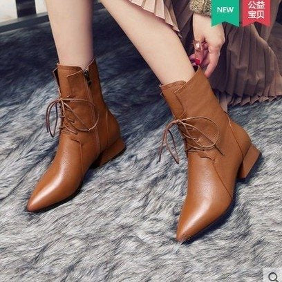 Lace up Sexy Winter Pointed Toe Ankle Boots