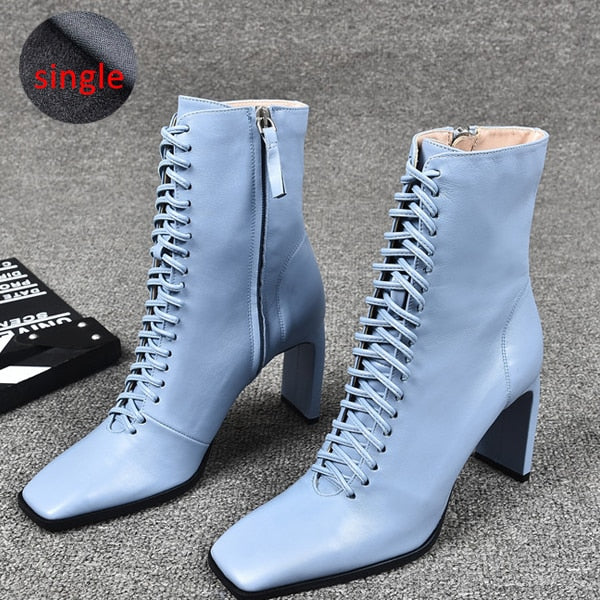 Winter Lace Up Leather Women High Heels Square Toe Ankle Boots