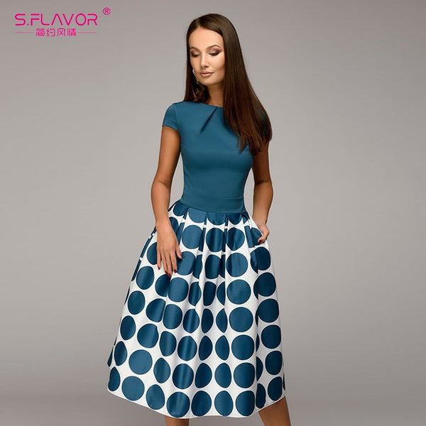 Elegant Short Sleeve Vintage Women Wave point Dress
