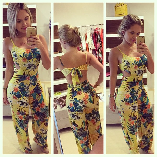 Club wear Floral Printing Backless Jumpsuit